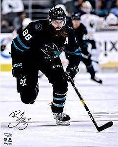 "Brent Burns San Jose Sharks Autographed 16"" x 20"" Black Jersey Skating Photograph - Autographed NHL Photos"