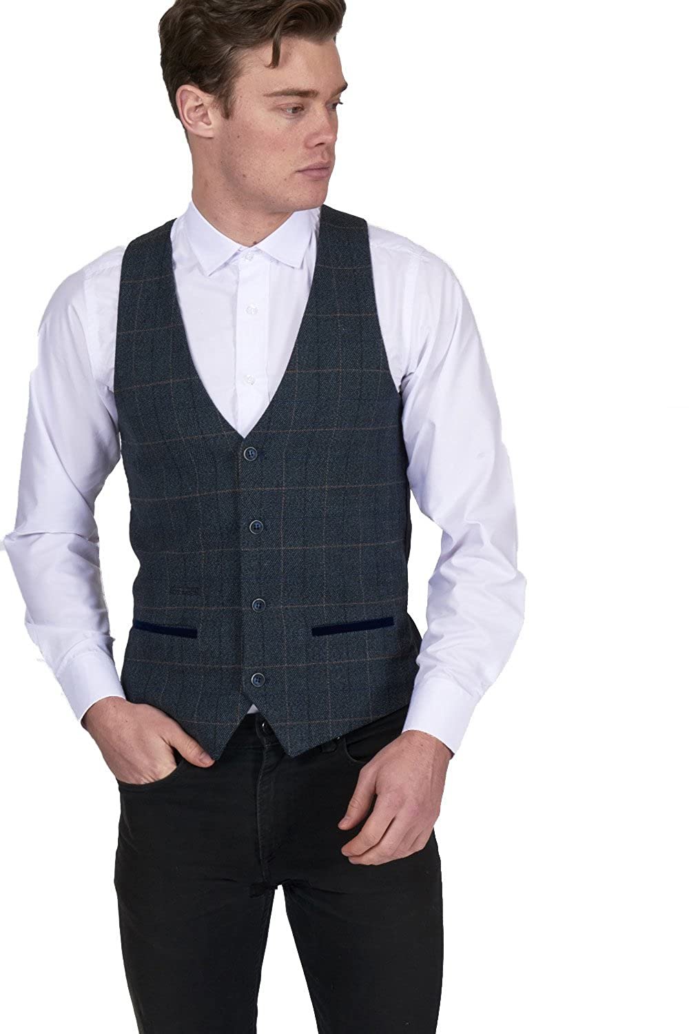 ca58fe4e35ff Marc Darcy Men's Multi Tonal Check Tweed Blazer/Waistcoat in Blue:  Amazon.co.uk: Clothing
