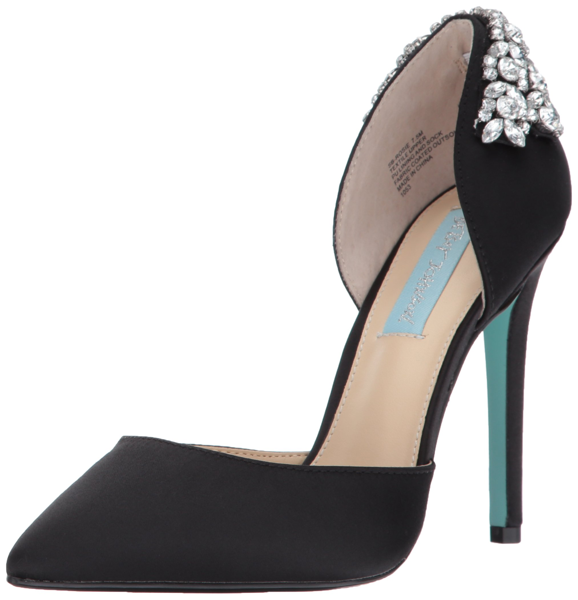 Blue by Betsey Johnson Women's SB-Rosie D'Orsay Pump, Black Satin, 9.5 M US