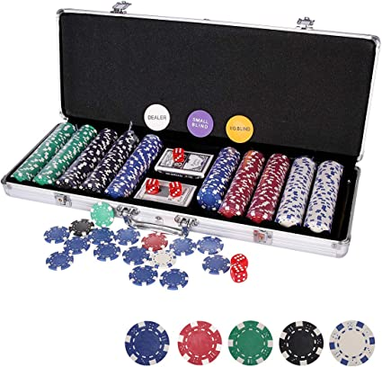 Amazon Com Wodesid 500 Piece Clay Poker Chip Set For 5 8 Players With Aluminum Case 7 Tone Chips 2 Decks Of Playing Cards 5 Red Dice And A Dealer Button Toys Games