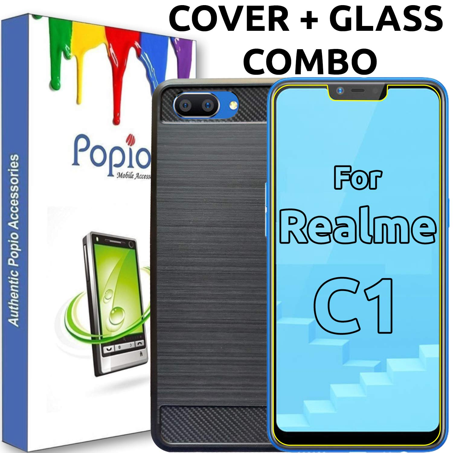 cfd639aaa4a Oppo Realme C1 Back Cover Case   Tempered Glass  Amazon.in  Electronics