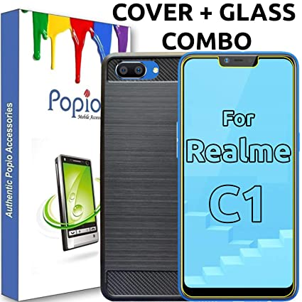 sale retailer bba9b 88a94 POPIO Combo Pack of Back Cover Case with Tempered Glass for Oppo Realme C1
