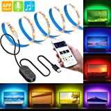 MINGER MusicPro TV Led Strip Lights APP Control 6.56ft for 40-60in TV RGB Backlight Kit with Controller, Neon Bias Lighting with Multi Color, IP65 Waterproof, USB Powered
