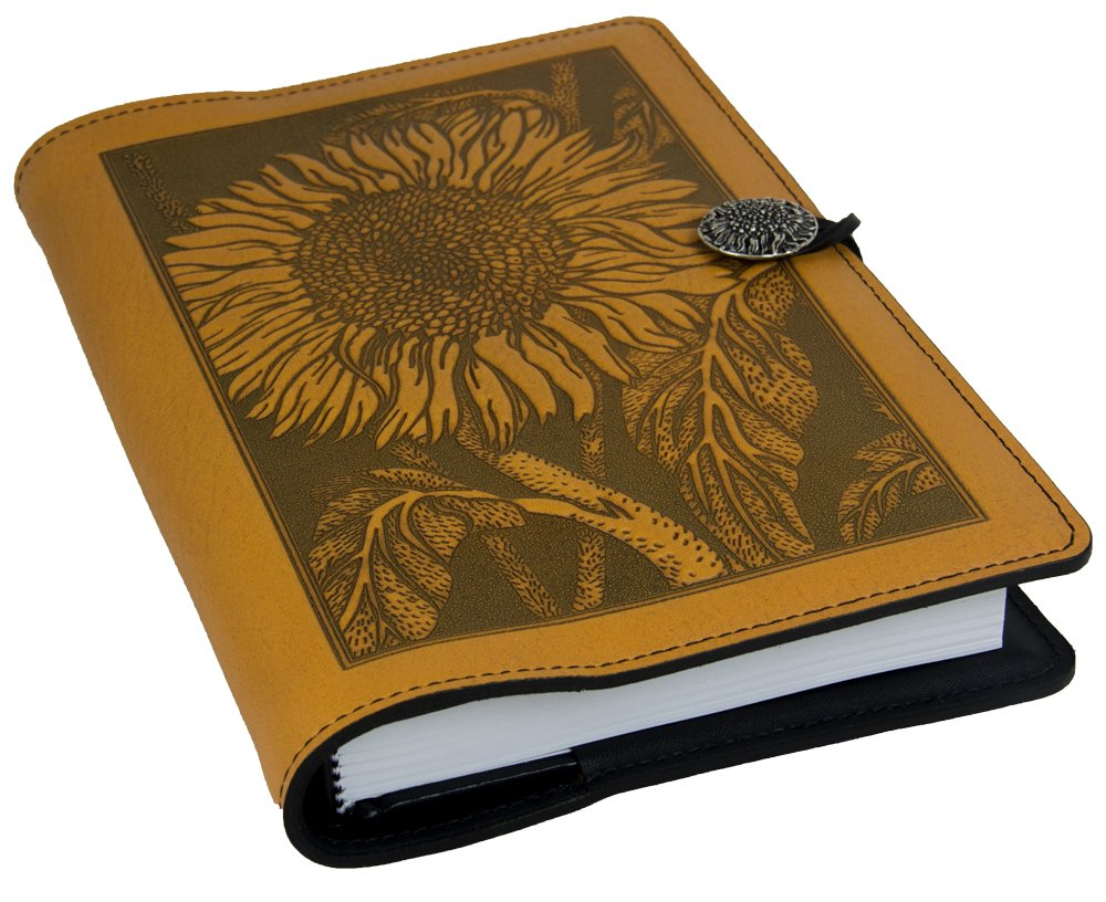 Genuine Leather Refillable Journal Cover + Hardbound Blank Insert - 6x9 Inches - Sunflower, Marigold with Pewter Button - Made in The USA by Oberon Design
