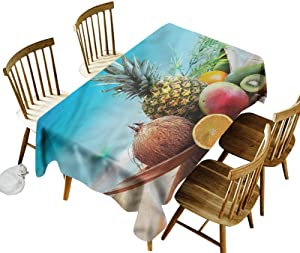 Fruits Tablecovers Rectangular Juicy Healthy Tropic Food Printed Tablecloth 60 x 84 Inch