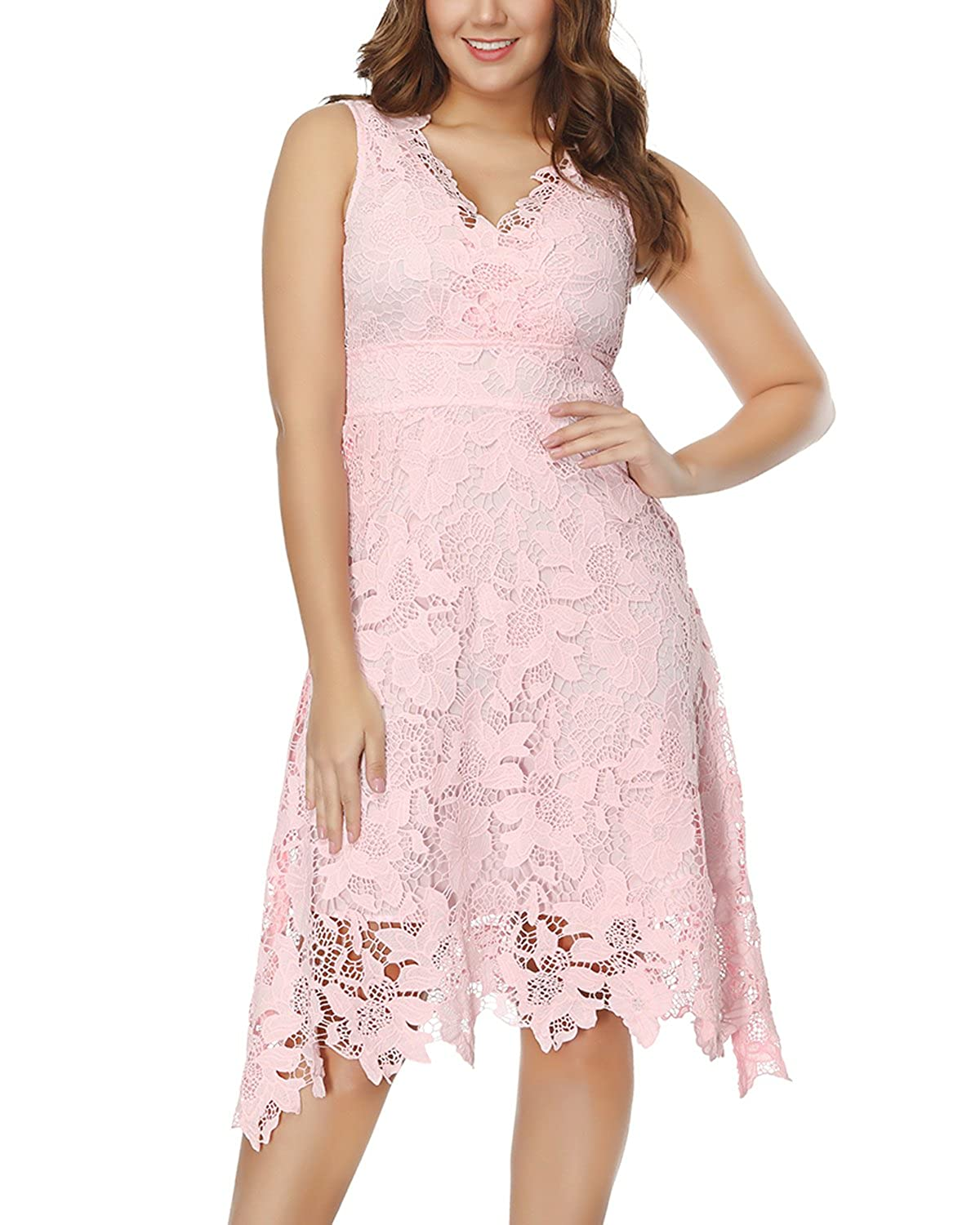 KIMILILY Womens V Neck Elegant Floral Lace Prom Cocktail Dress at Amazon Womens Clothing store: