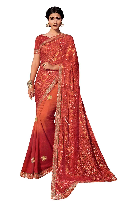 30b6c4fa4bb Laxmipati Red   Orange Satin Crush Chiffon Saree for Women with Blouse  Piece (DILBARO 5390)  Amazon.in  Clothing   Accessories