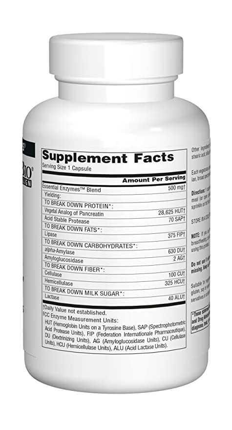 Source Naturals Daily Essential Enzymes in Vegetarian Capsules, 500 mg, Capsules, 240 capsules