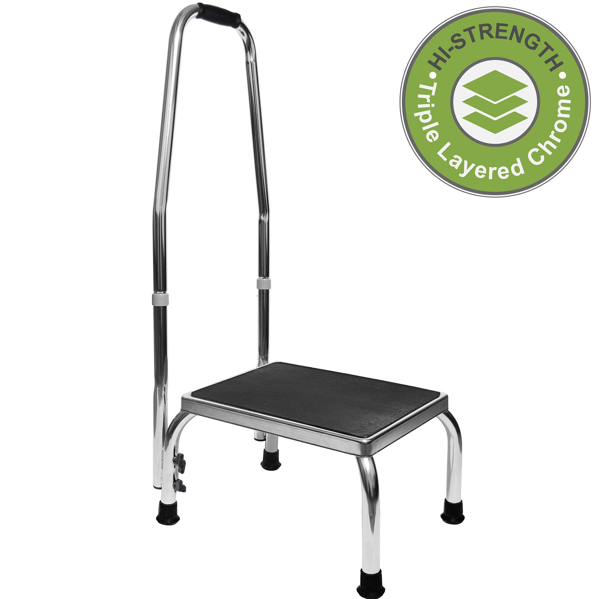 Vaunn Medical Foot Step Stool with Handle and Anti Skid Rubber Platform, Lightweight and Sturdy Chrome Stool for Children, Adults and Seniors by Vaunn