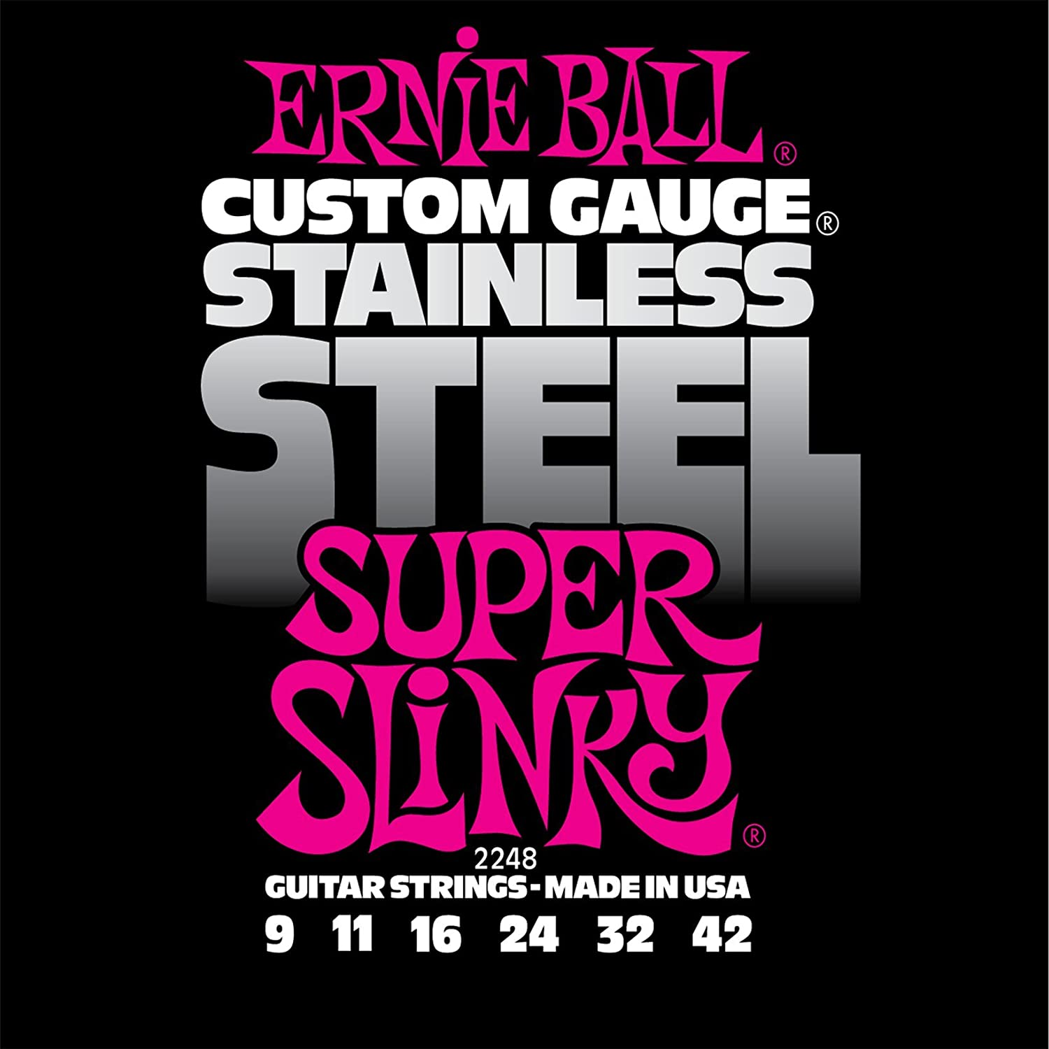 Ernie Ball 2248 Stainless Steel Super Slinky String Set (09-42) Coast Music P02248