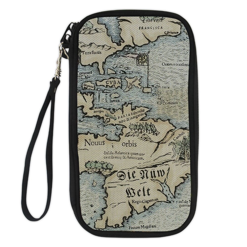 FOR U DESIGNS Cool World Map Passport Holder for Womens Mens with Removable Wristlet Strap