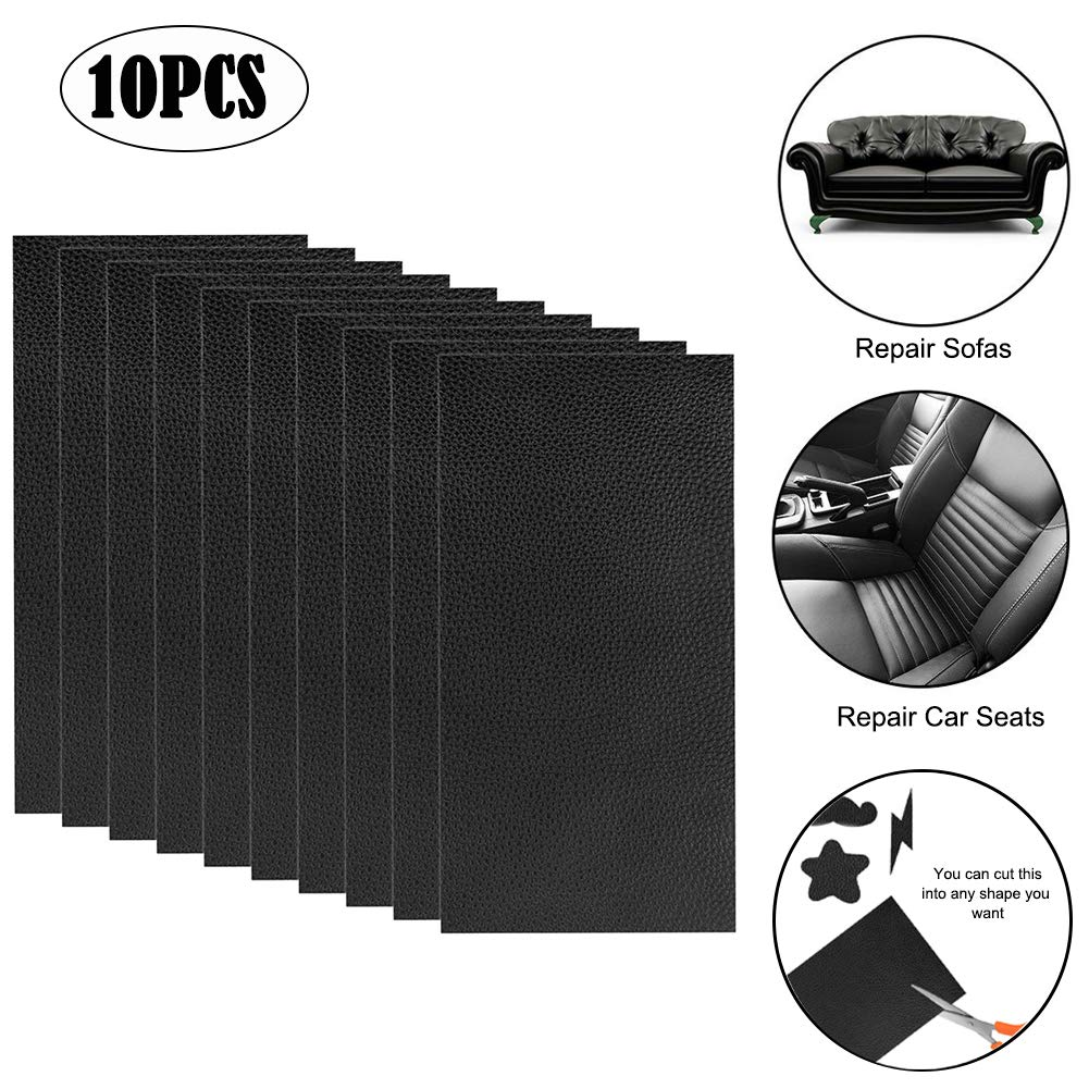Leather Repair Patch 10 Pieces Leather Repair Kit Black Leather Adhesive Patch First-aid for Sofa, Car Seat, Handbag 4x8'' Pack of 10 Small Black by Lyeiaa