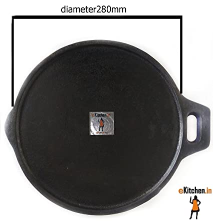 eKitchen Fully Seasoned Cast Iron + Flat Tawa/Pan/dosa kal Diameter -11 inches/280mm/28 cms/Corner Thickness - 11mm, Centre Thickness - 6 mm