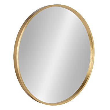 Kate and Laurel Travis Circular Wall Mirror with Wood Frame, 25.6-inch Diameter for Entryways, Washrooms, Living Rooms and More, Gold Finish