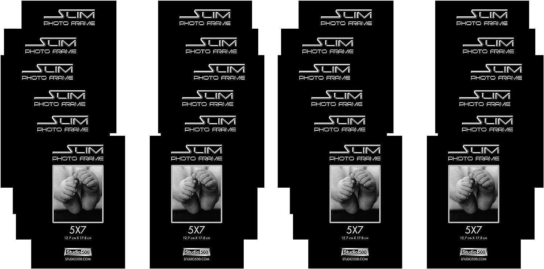 Studio 500, The Original Slim Photo and Document Frames, Black, in Various Sizes & Quantities (24, 5x7)
