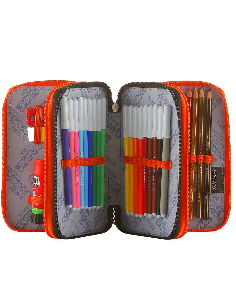 Pen Pen Pen Case 3-zip Seven Tribal Boy Orange e233b4