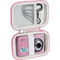 Khanka Hard Travel Case for AbergBest 21 Mega Pixels/Camking Rechargeable HD Digital Video Students Kids Adult Seniors Cameras.(Pink&White)