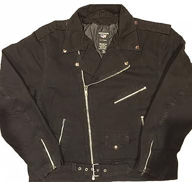 2b7e168783a Amazon.com  Allstate Leather Men s Basic Black or Blue Denim Motorcycle  Jacket 14 oz  Clothing