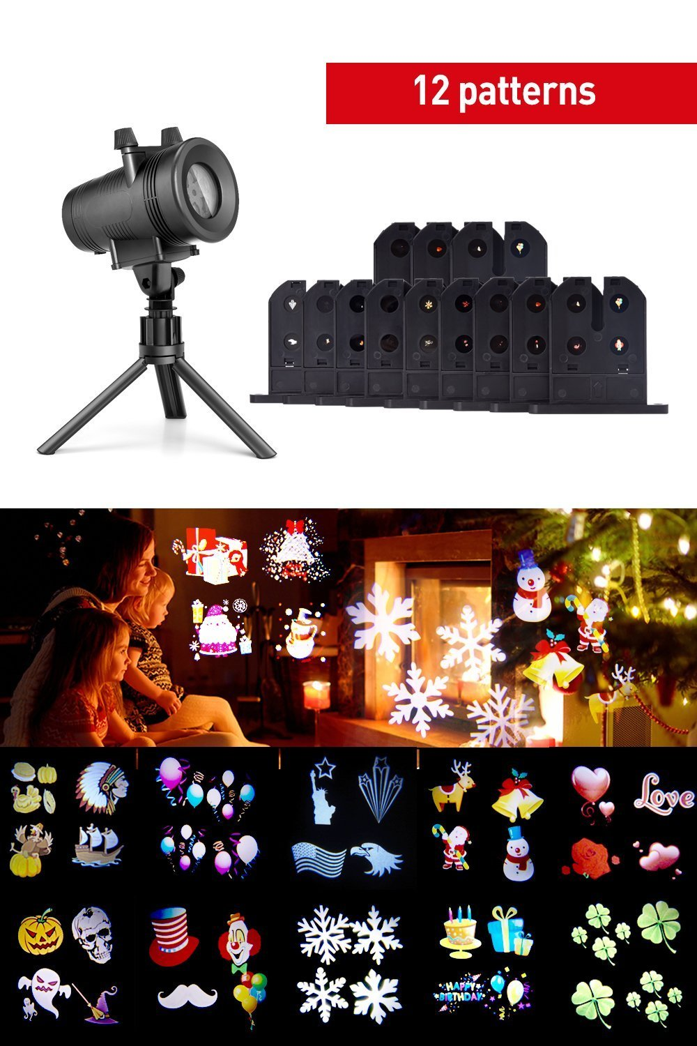 Projector Lights with 12 Switchable Patterns, Ominilight Waterproof Magicfly Rotating Spotlight for Christmas, Birthday, Party, Indoor and Outdoor Decoration