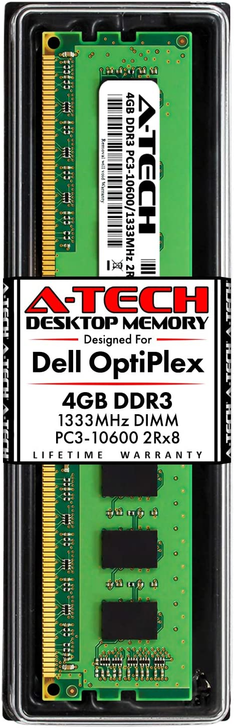 A-Tech 4GB RAM Stick for Dell OptiPlex 9010, 7010, 3010, 990, 980, 790, 390, DT/MT/SFF/USFF - DDR3 1333MHz PC3-10600 Non-ECC DIMM Memory Module