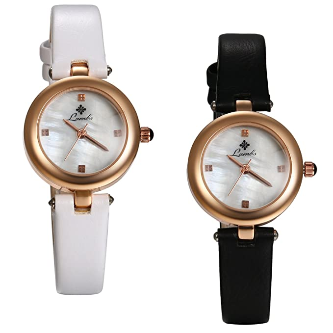 Amazon.com: Ladies Japan Quartz Small Face Bracelet Bangle Jewelry Mother Of Pearl Dail Watch With Leather Strap (2PCS): Watches