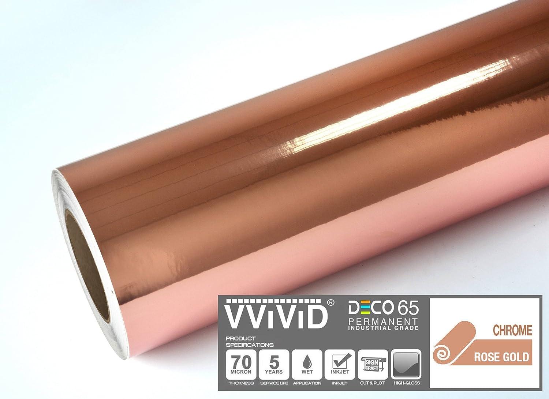 VViViD DECO65 Rollo de vinilo adhesivo permanente cromado metálico de color oro rosa brillante, 30,48 cm x 182,88 cm para máquinas de plotar Cricut, Silhouette & Cameo: Amazon.es: Juguetes y juegos