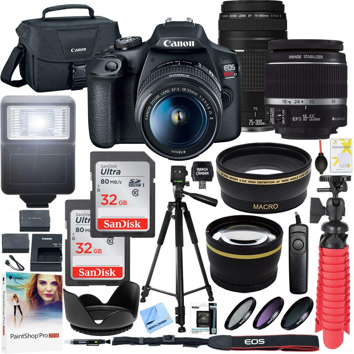 Canon T7 EOS Rebel DSLR Camera with EF-S 18-55mm f/3.5-5.6 is II and EF 75-300mm f/4-5.6 III Lens Plus Double Battery Accessory Bundle by Canon