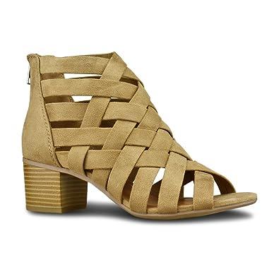 f354cec07 Premier Standard - Women s Dressy Sandal Chunky Heel Open Toe - Front Pie  Crossed Strap Shoe