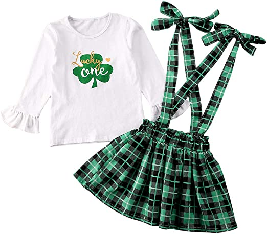 USA STOCK Baby Girls St.Patrick/'s Day Clothes Tops+Suspender Skirt 2Pcs Outfits