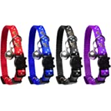 Cat Collar Stars and Moon, 3-Pack, Reflective with Bell, Solid & Safe Collars for Cats, Nylon, Kitty Collars, Pet Collar…