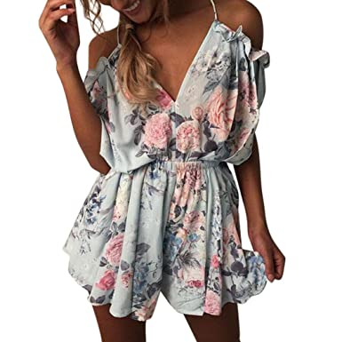 03962decd1 LILICAT Womens Ladies Jumpsuit Sexy V-Neck Flower Printed Halter Strap Elastic  Waist Summer Holiday