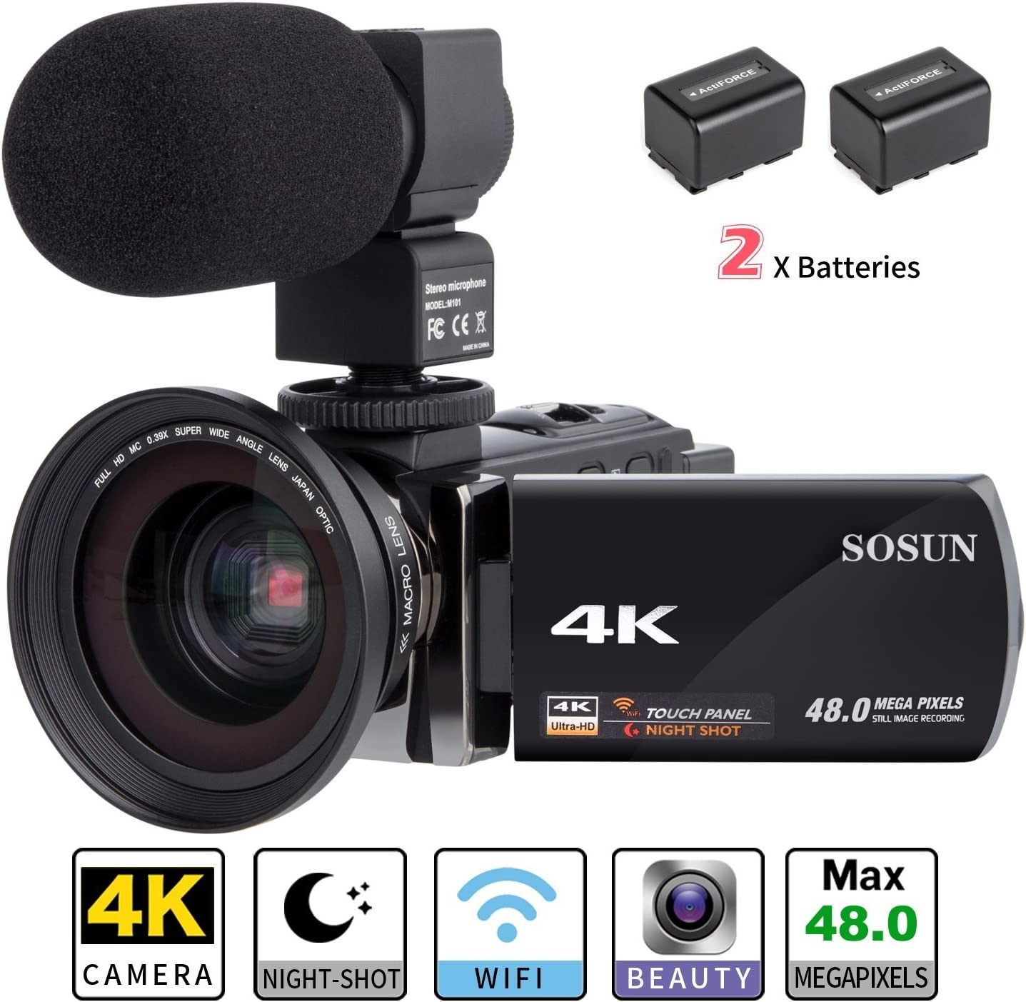 Amazon Com Camcorder Video Camera 4k Sosun 16x Digital Zoom Recorder Wifi Camera 48 0mp 3 0 Inch Touch Screen Night Vision Camcorder With External Microphone And Wide Angle Lens 2 Batteries 614kmw Electronics