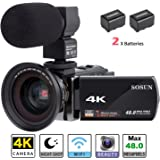 Camcorder,Video Camera 4K SOSUN 16X Digital Zoom Recorder WiFi Camera 48.0MP 3.0 inch Touch Screen Night Vision Camcorder with External Microphone and Wide Angle Lens,2 Batteries(614KMW)