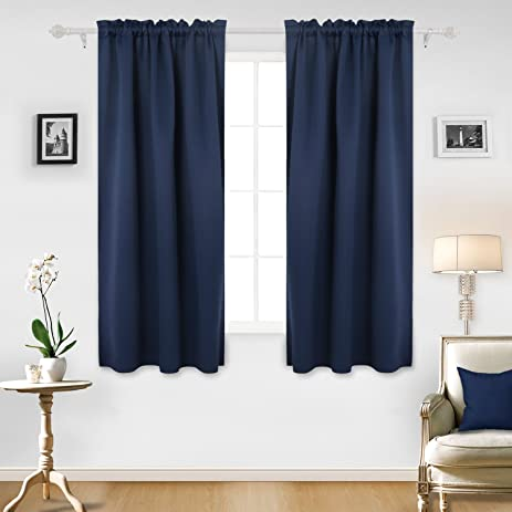 Deconovo Room Darkening Curtain Rod Pocket Curtain Panel Thermal Insulated Blackout  Curtains For Office Room 42W