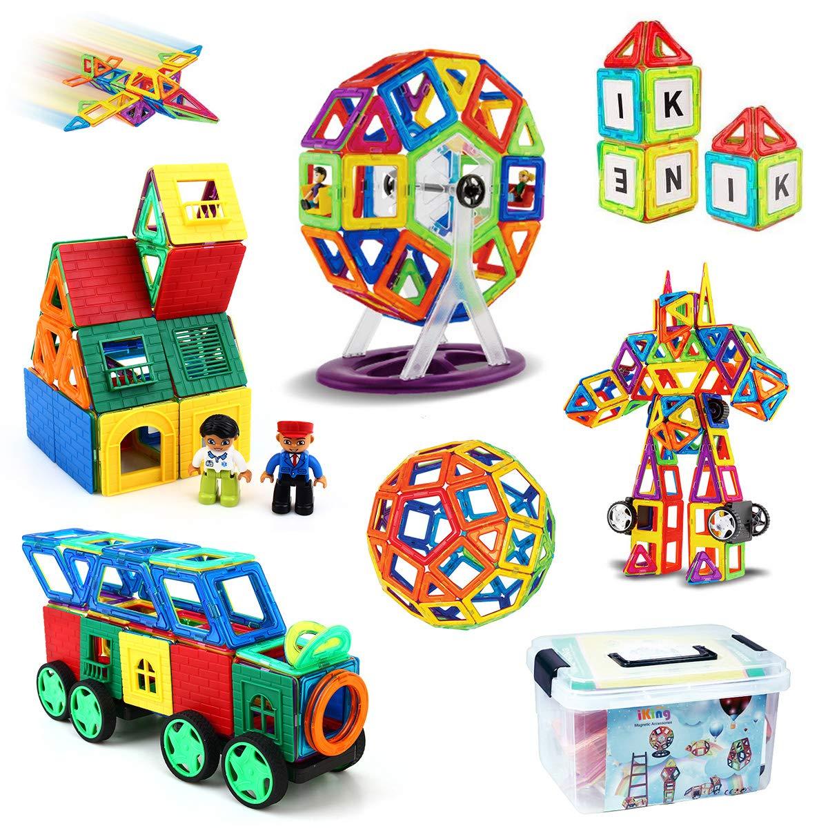 iKing マグネットブロック 162ピース 磁気おもちゃ 大容量 誕生日プレゼント 子供 マグネットおもちゃ 磁石ブロック 知育玩具 立体パズル モデル ゲーム DIY 積み木 ブロック おもちゃ 子ども オモチャ 車・かんらんしゃ・ロボット・三角形・四角形・数字・英語など 磁性構築 立体パズル 幼児 知育オモチ キッズ 女の子 男の子 玩具 入園 ギフト プレゼント 贈り物 日本語 収納便利 ケース付き ママ安心【特許実施許諾承認取得】