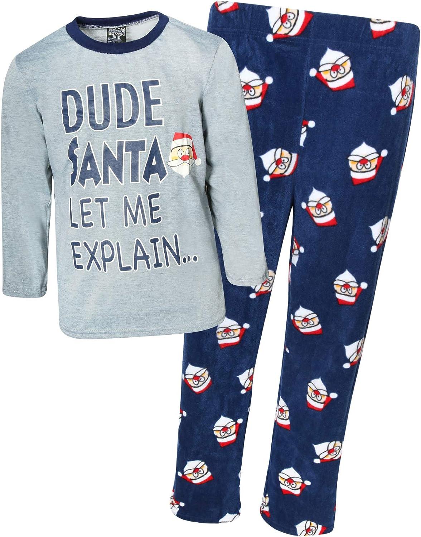 Quad Seven Boys 2-Piece Knit Microfleece Christmas Pajama Set
