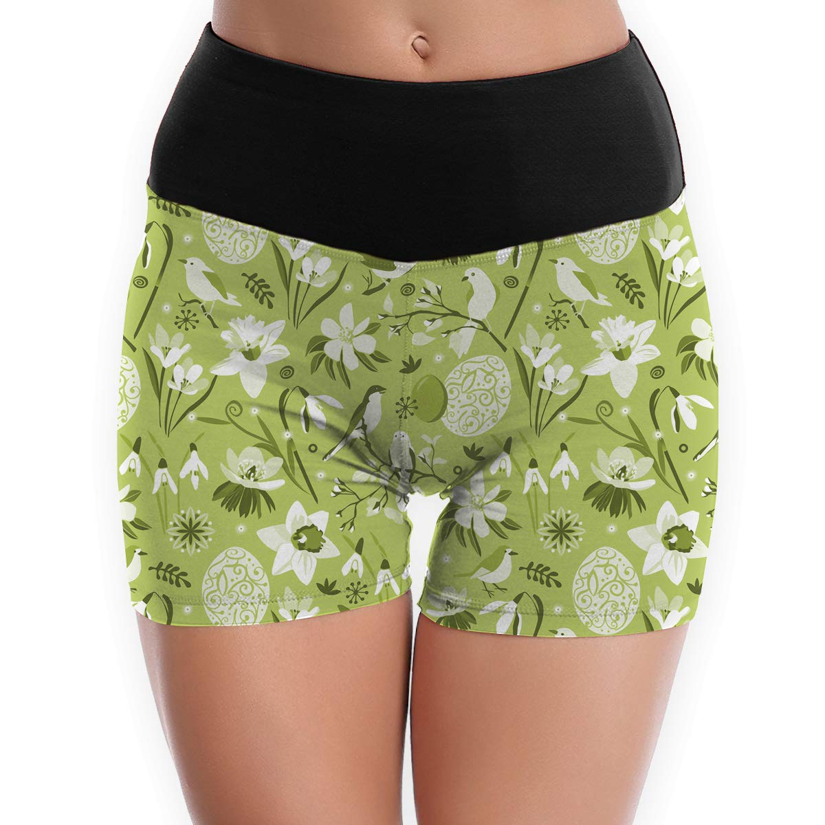 White Flowers and Birds Eggs Easter Yoga Tights Short Running Pants Workout
