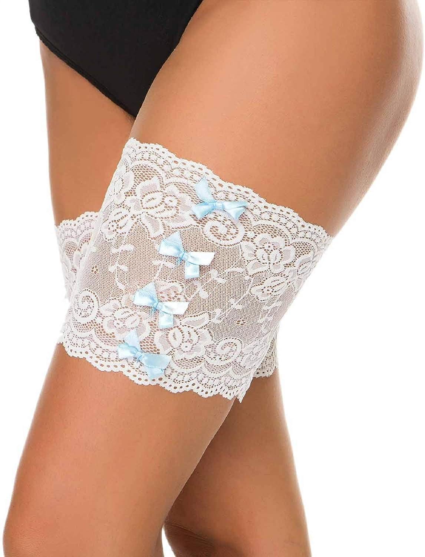 Tuopuda 1 Paar Damen Elastische Oberschenkelb/änder Anti Chafing Schenkel Bands Oberschenkel B/änder Socken mit Anti Rutsch Silikon