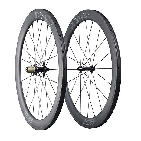 ICAN 700C Carbono Carretera Bicicleta Rueda 55mm Clincher Tubeless ...