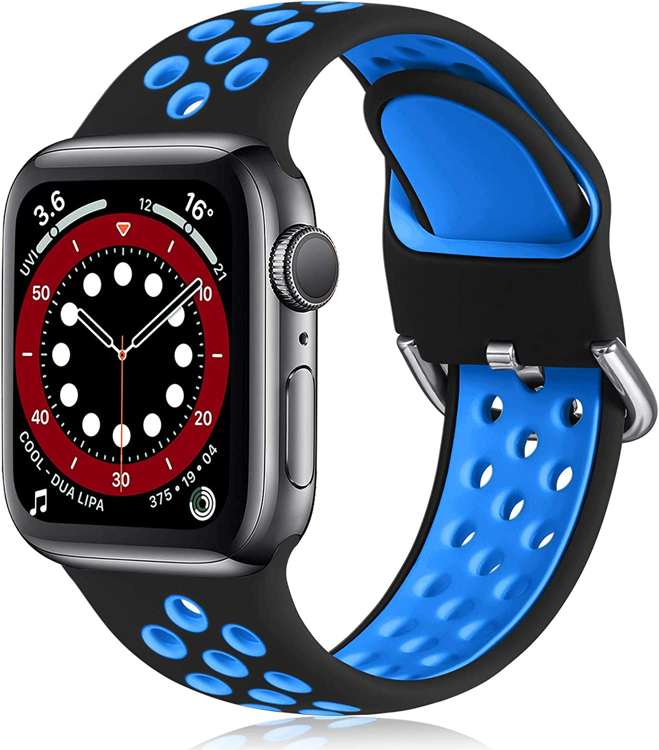 Witzon Compatible with Apple Watch Band 42mm 44mm Soft Silicone Waterproof Breathable Replacement Wristband Sport Bands for iWatch Series 1/2/3/4/5/6/SE Women Men, Black Blue, M/L