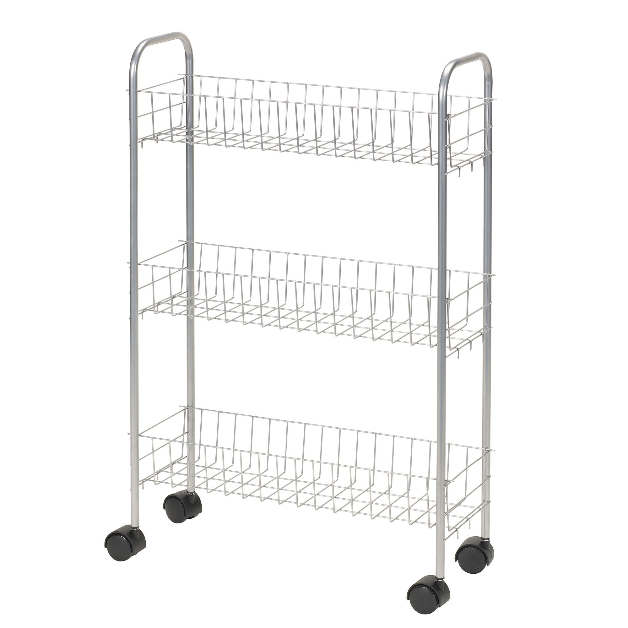 Household Essentials 7011 Slim Line 3-Tier Metal Storage Cart | Satin Silver by Household Essentials