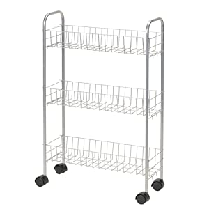 Household Essentials 7011 Slim Line 3-Tier Metal Storage Cart | Satin Silver