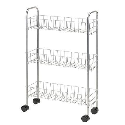 Bon Household Essentials 7011 Slim Line 3 Tier Metal Storage Cart   Satin Silver