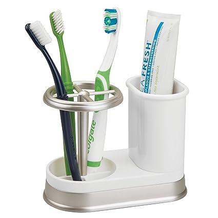 MetroDecor mDesign Soporte para cepillos de Dientes – Porta cepillos de Dientes de plástico para lavabos