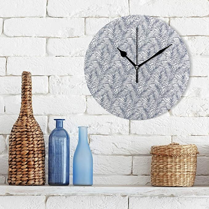 Amazon.com: KamBins Silent Non Ticking Wall Clock Palm Tree Pattern Vector 10 Inch Round Decorative Clock Excellent Accurate Sweep Easy to Read Home Office ...