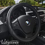 Valleycomfy Universal 15 inch Auto Car Steering Wheel Cover with Black Genuine Leather for HRV CRV Accord Corolla Prius…
