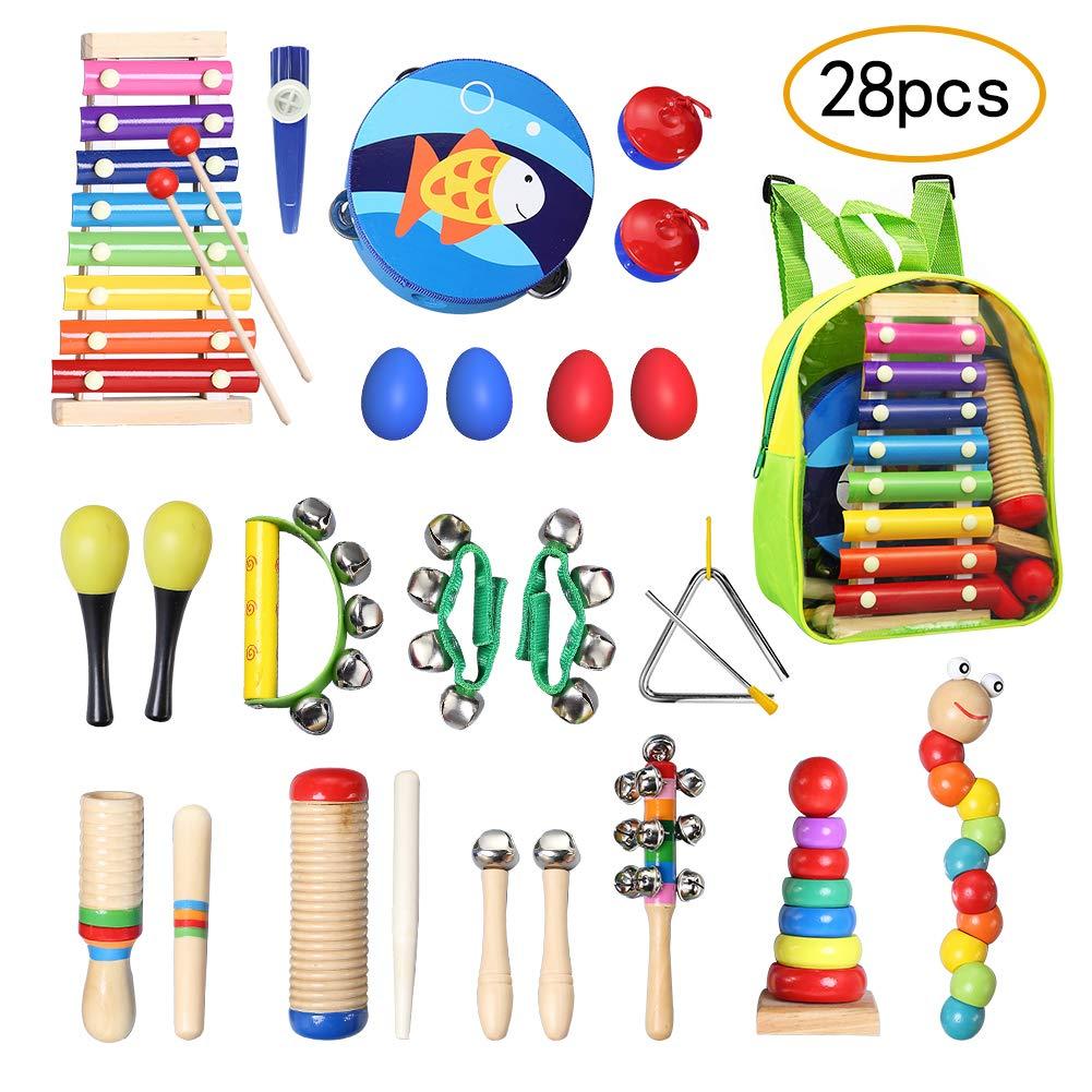 TOPERSUN Regalo del de Niño 28Pcs Juguetes Musicales Instrumentos Musicales Percusión Conjunto de Banda Pequeña product