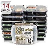 [Set da 14] contenitori porta alimenti - divisi in 3 scomparti e con coperchio a tenuta stagna - portatili, riutilizzabili, impilabili, BPA free - adatti a microonde e lavastoviglie - guida eBook gratuita