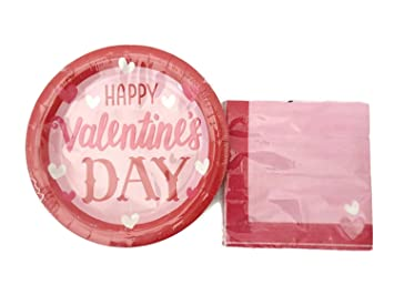 Happy Valentine\u0027s Day Plates And Napkins Set - Disposable Paper Plates - Serves 18 For Your  sc 1 st  Amazon.com & Amazon.com: Happy Valentine\u0027s Day Plates And Napkins Set ...