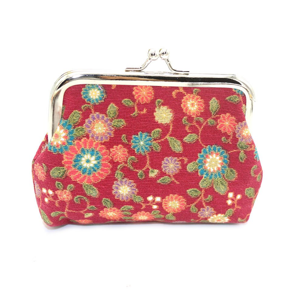 Lightclub Sunflower Print Women Cash Coin Purse Kiss Lock Mini Wallet Card Bag